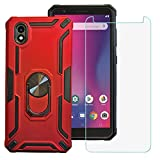BestAlice for ZTE Avid 579 / ZTE Blade A3 2020 Case with Tempered Glass Screen Protector, Hybrid Heavy Duty Protection Shockproof Defender Kickstand Armor Case Cover,Red