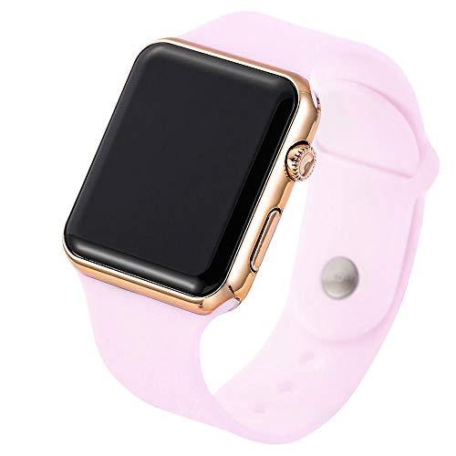 wojiaxiaopu Relogio Feminino Frauen LED Digital Sportuhren Unisex Männer Casual Silikon Armbanduhren Uhr reloj Mujer Bayan kol saati-Pinke Rose