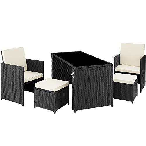 TecTake 800808 Conjunto de ratán, Asientos de jardín de poliratán con Mesa, Muebles de Exterior con Trenzado de ratán sintético, Conjunto de sillones, taburetes y Mesa para la terraza (Negro)