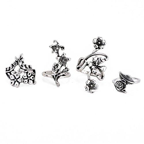 minjiSF Juego de 4 anillos de flores talladas para mujer, bohemios, creativos, únicos, retro, elegante, para mujer, bohemio, para el año o para la fiesta, color plateado