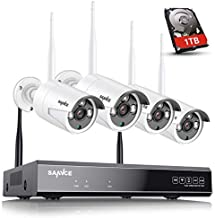 Update Strong Signal Version, Wireless Security Camera System, SANNCE 1080P 8CH NVR and 4 pcs 2MP IP66 Weatherproof Surveillance Cameras,Indoor/Outdoor with 100FT Night Vision,1TB Hard Drive Included