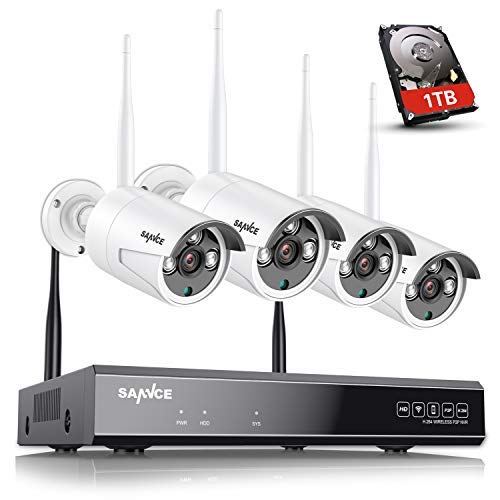 【Expandable 8CH】 Wireless Security Camera System with 1TB Hard Drive, SANNCE 8 Channel NVR 4Pcs 1080P 2.0MP WiFi IP Security Surveillance Cameras Home Outdoor, Easy Remote View, 100FT Night Vision