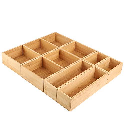 Kootek 6 Pcs Bamboo Drawer Organizer Utensil Tray Kitchen Storage Box 3Size Versatile Dividers Cutlery Holders Bins Containers for Flatware Kitchen Utensils