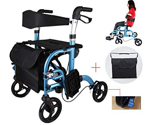 WenTao Gehgestell mit Sitz und Pedal Robustes Aluminium für ältere Menschen Höhenverstellbare Grifffalten für einfache Lagerung und Transport Sitzhöhe 550 mm
