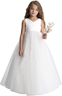 Gdoker Chiffon Tulle Flower Girl Dress Ivory, Wedding Pageant Dresses for Girls, Fancy Junior Bridesmaid Dress A-Line