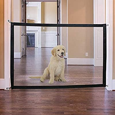 SA Products Pet Mesh Gate - Portable Folding Safety Enclosure for Dogs, Puppy, Cats - Lightweight Doorway, Stair, Room Net Barrier - Indoor Security Netting Fabric Fence with Adhesive Hooks, 110x72cm