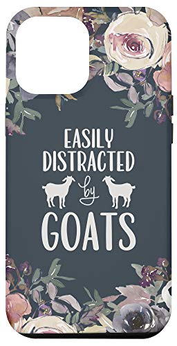 iPhone 12 Pro Max Cute Easily Distracted By Goats with Floral Bouquet on Black Case