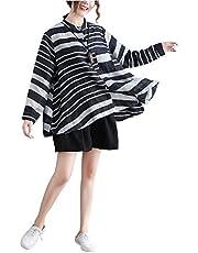 シャツ ブラウス カットソー トップス ゆったり ボーダー柄 大きいサイズ マルチボーダー 体型カバー 着痩せ 長袖 韓国ファッション レデ