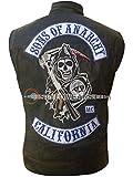 Stylowears SOA Sons of Anarchy - Chaleco de piel Samcro California para motocicleta