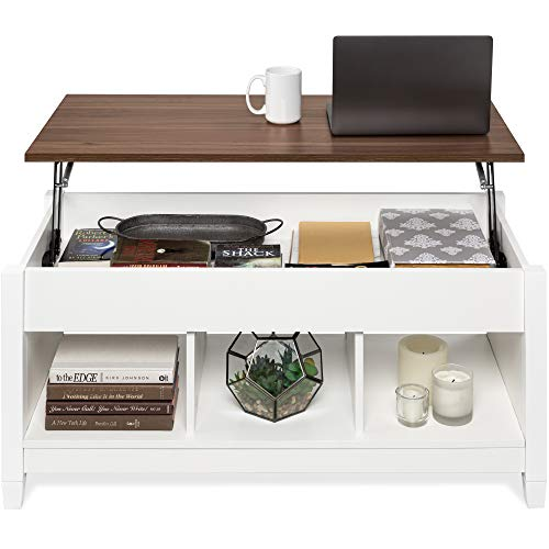 Best Choice Products Wooden Lift Top Coffee Table, Multifunctional Accent Furniture for Living Room, Décor w/Hidden Storage, Display Shelves - White/Brown