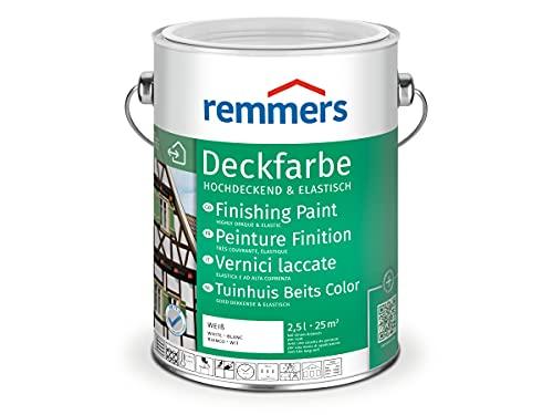 Remmers Peinture Finition Blanc (RAL 9016), 2,5 litres, Peinture aqueuse pour intérieur et extérieur, protection contre les intempéries pour le bois, le zinc, et nombreux autres...