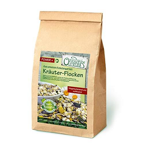 Original-Leckerlies: Kräuter-Flocken-Mix, 1 kg magenschonende Hundeflocken mit Haferflocken, Kamille, Melisse und Fenchel, Hundefutter- Naturprodukt für Hunde, barfen