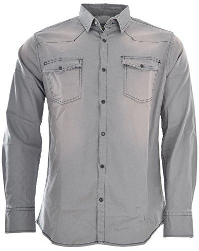 Marken Outlet Kriftel -  Camicia Casual - Uomo Grigio Pietra Small