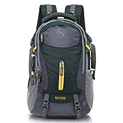 HEROZ Hacker 50 litres Nylon Travel Laptop Backpack Water Resistant Slim Durable Computer Book Bag Tracking Fits Up to 17.3-inch Laptop (Grey & Mehdi Green),A. H. Creation,058