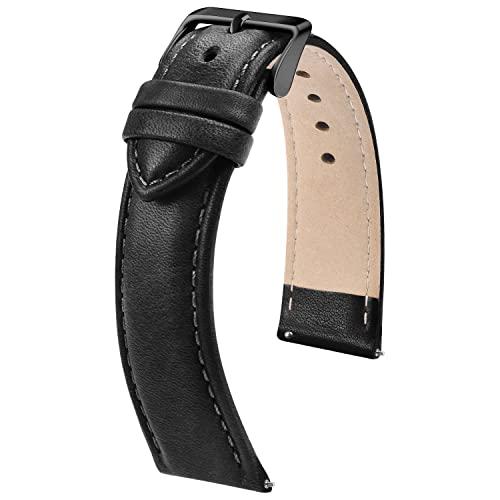 Fullmosa Cinturino di ricambio per orologio da 22 mm, cinturino di ricambio per orologio da uomo e donna, 22 mm, nero + fibbia nera