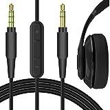 Geekria Cable de audio para Beats Solo 3 inalámbrico, Studio3, Studio2, Solo2, Solo HD auriculares, cable estéreo de repuesto de 3,5 mm con control de volumen y micrófono (color negro, 1.7 m)