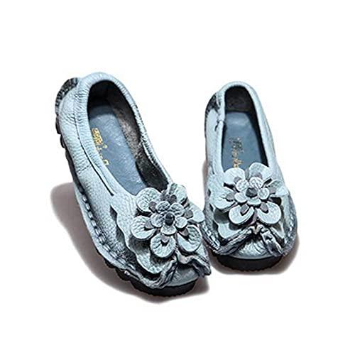 HUDUO Zapatos Planos Holgazanes Verano Mujer Mocasines con Cordones Cómodos Caminar Conducir Zapatos para Barco Zapatos Ballet con Suela Suave Y Ligera,Blue-40