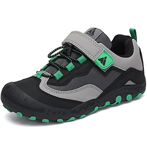 Mishansha Zapatos de Senderismo Niños y Niñas Zapatillas de Deporte Zapatos de Trekking Outdoor Antideslizante Transpirable Sneakers, Tinta Negro, 33 EU