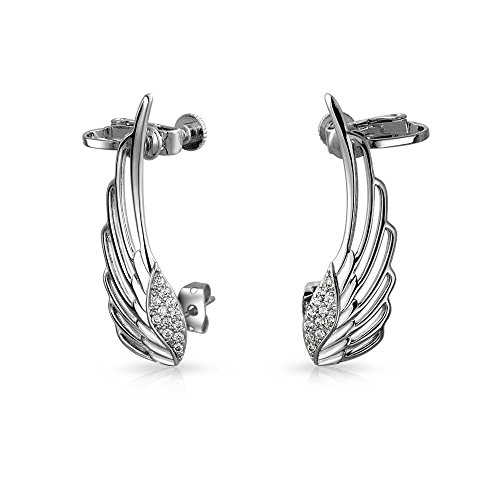 Guardian Angel Wing Feather Cartilage Right Ear Cuff Wrap CZ Climber Helix Earring Silver Plate Brass Adjustable Screw