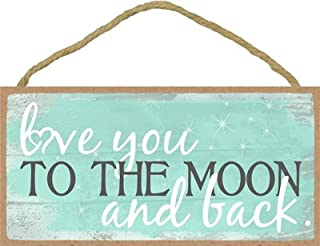 SJT ENTERPRISES, INC. Love You to The Moon and Back - Teal On Distressed Wood - White Cursive with Grey Formal Font 5