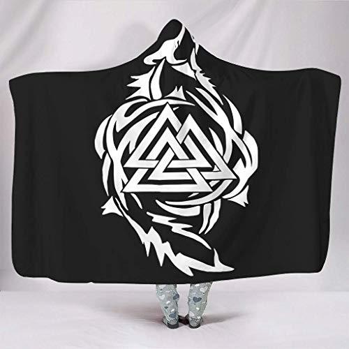 Leisure-Time Mantas con Capucha Suaves Blanco y Negro Odin Viking Wolf Nordic Valknut Totem Print Wa