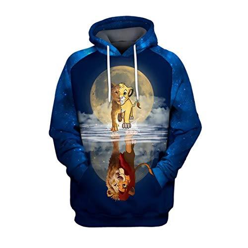 WMHNP Herren Sweatshirt 3D Drucken Für Reflexion König Der Löwen Element,Mode Langlebig Multicolor Unisex Sweatshirt,Freizeit Kängurutasche Polyester Atmungsaktiv Sweatshirt L,XL,H1,M