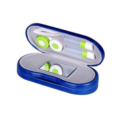 Rosenice - Estuche 2 en 1 para lentillas y gafas, doble uso, portátil, de viaje, color azul