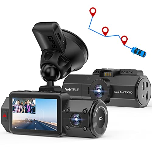 Vantrue N2S Dual 2.5K Dash Cam with GPS, 4K Single Front or 1440P Front and Cabin Car Dashboard Camera with Super Capacitor, IR Night Vision, Parking Mode, Motion Sensor, Support 256GB Max