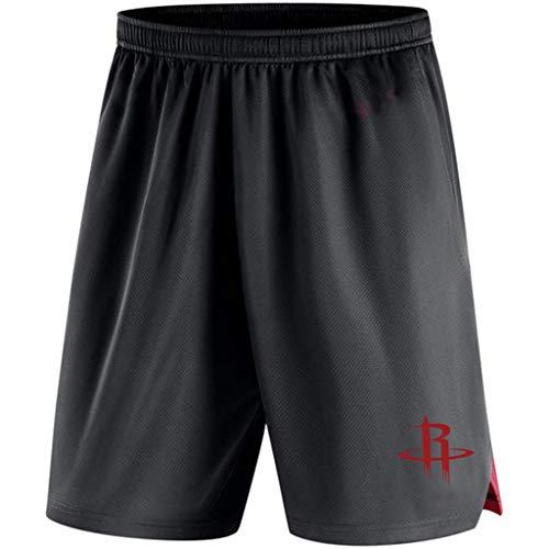JNTM Mens Sport Shorts NBA Houston Rockets Trainingswissenschaft Gestrickte Jogginghose Strandkurzschlüsse Für Jugend-Sommer Mit Tasche Black-L