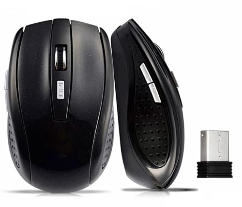 THE BLACK MOUSE - Wireless Optical Plug & Play Mouse - 2.4GHz with USB Mini...
