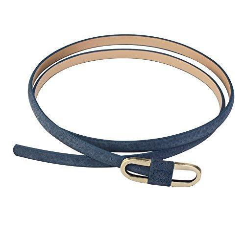 Aodexius Damen Super Schmal Poppig Jeans Kleid Belt Gürtel Mit Bronze Schnalle,Blau