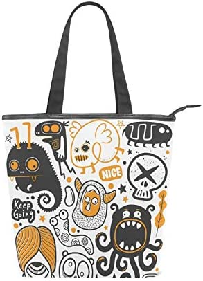 Funny Doodles Monsters free shipping Very popular! Canvas Tote Women for High-capacity Bag