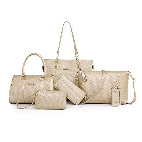 AlwaySky Damen Handtaschen Set 6 Stück PU-Leder Top Griff Tasche Frauen Shopper Geldbörse Umhängetasche, Weiß