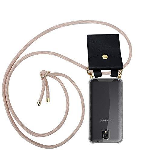 Cadorabo Funda con Cuerda para Samsung Galaxy Note 3 en Oro Rosa Perlado – Cubierta Protección Collar para Colgar di TPU Silicona Transparente con Anillos OROS, Cordon y Estuche Removible
