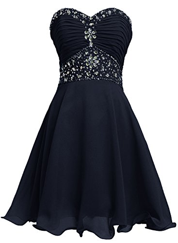 Bbonlinedress Vestido De Mujer Fiesta Noche Boda Corto Escote Corazón De Gasa Azul Oscuro 46