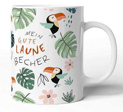 tassenprinter Spruch-Tasse: Gute Laune Tasse TÄSSCHEN - 300ml Keramik Kaffee-Tasse weiß mit lustigem Bunten Motiv - Geschenk-Idee zum Geburtstag Kollegen Arbeit Freunde (Dschungel-01)