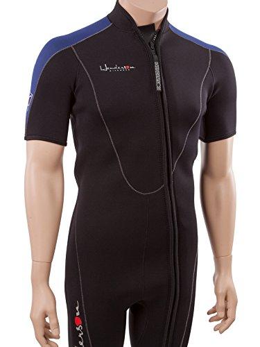 Henderson Thermoprene Men's 3mm Shorty Wetsuit Springsuit Front Zip, Black/Blue, Large
