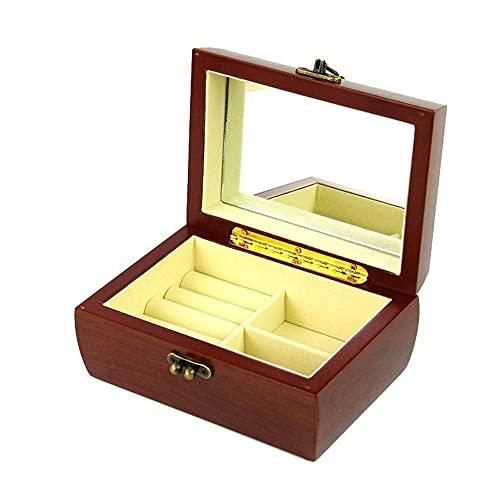JIANGCJ Bella Caja de joyería Caja de joyería de Madera 2 Capas con Espejo Organizador de joyería Vintage joyería Cofre para el Compromiso de Boda Caja de baratijas