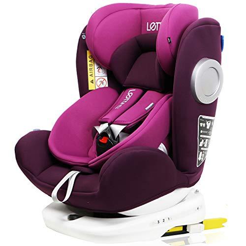 LETTAS チャイルドシート 回転式 新生児~12歳頃(0~36kg) ISOFIX対応 シートベルト固定 一年保証 パープル