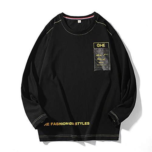 Camiseta de manga larga para hombre Ropa de algodón puro punto camiseta de manga larga - negro - X-Large