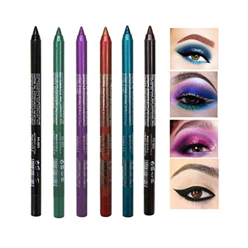 New Cosmetic Make Up Waterproof Long Lasting Women Eye Liner Eyeliner, 6 PCS Glitter Metallic Eyeliner Pencil Shimmer Highlighter Eye Liner Pencils Eyeshadow Professional Makeup Set (Color C Set)