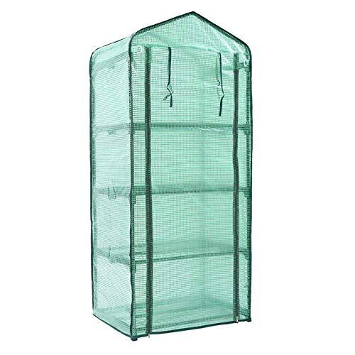 Applyvt Foliengewächshaus 4 Etagen - Foliengewächshaus Winterfest - Transparent PVC wasserdichte Anti-UV Gewächshaus Für Gemüse Tomaten Obst Blumen - 69X49X155CM (Ohne Eisenrahmen)