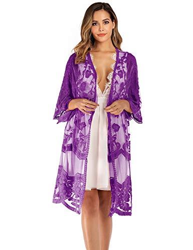 iWoo Kimono sexy para mujer, de encaje, con flores, crochet, parte delantera, chaqueta de punto, para verano, playa, vestido largo A-lila Tallaúnica