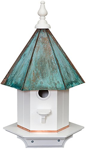 Copper Patina Roof Vinyl One Apartment Bird House 24 inches tall Amish...
