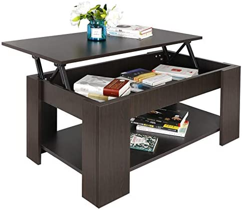 Best SUPER DEAL Lift Top Coffee Table w/Hidden Compartment and Storage Shelves Pop-Up Storage Cocktail Ta