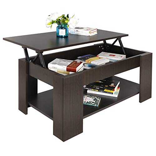 SUPER DEAL Lift Top Coffee Table w/Hidden Compartment and Storage Shelves Pop-Up Storage Cocktail...
