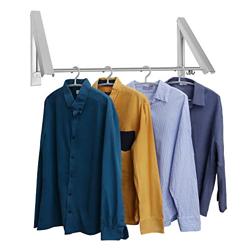 LECDDL Retractable Clothes Racks - Laundry Hangers Wall Mount - Wall Mounted Folding Clothes Hanger Drying Rack - Waterproof Indoor Outdoor Wall Mounted Clothes Hanger 2 Racks with Rod