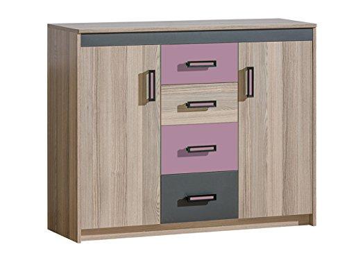 SMARTBett GmbH commode Timo met 2 deuren en 4 laden essenhout donker/violet commode slaapkamer dressoir voordelige commodes commode kopen hoogcommode