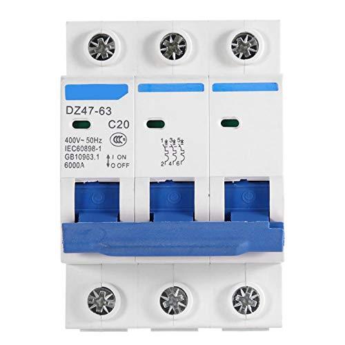 Disyuntor en miniatura 400V Mini disyuntor de acción sensible Inoxidable Incombustible para caja combinadora Sistemas de CC Generación de energía solar(20A)
