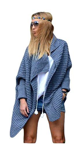 Damen Frauen Cardigan Lang Pulli Pullover Strickjacke Wasserfall Oversize Cardigan Damen Strick S M L XL36 38 40 42 (665) (Jeans)